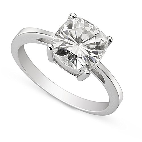 Forever Brilliant 8.5mm Cushion Moissanite Solitaire Engagement Ring, 2.80ct DEW by Charles & Colvard