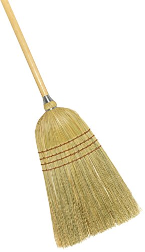 Industrial Corn Broom - Weiler 44009 Corn Fiber Light Industrial Upright Broom with Wood Handle, 1-1/2