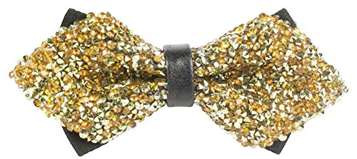 Flairs New York Gentleman's Diamond Pointed Pre-Tied Bow Tie (Gold Glitter Rhinestones/Black) -