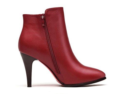 halten rot Winter Herbst Stiefel Stiletto kurze Schuhe und Spitzen warme xpnzBqXnw