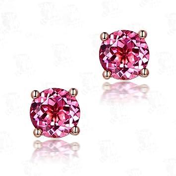 KHOBGLU Mujeres Elegantes Joyas De Aguamarina De Plata Pendientes Retro De Un Solo Diamante Pendientes De Oreja De Piedras Preciosas De Colores
