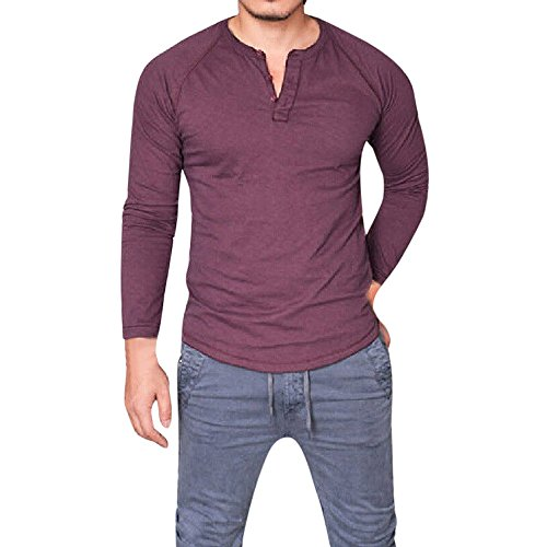 (Realdo Hot Clearance Sale Mens Slim Tops Fit V Neck Long Sleeve Solid Muscle Henley Shirt Tee Casual Blouse(X-Large,Red))