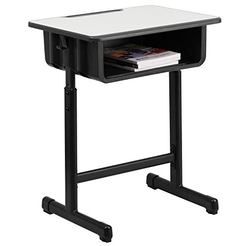 Front Desk Furniture - Flash Furniture Student Desk with Grey Top and Adjustable Height Black Pedestal Frame
