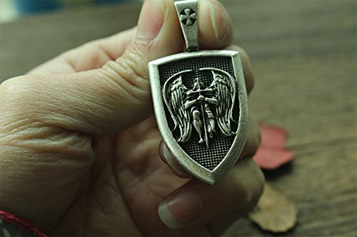 HANDMADE JEWELLERY - Viking Necklace Archangel St.Michael Protect Me Saint Shield Protection Pendant Jewelry -Gift for Men - Women - Adult - Luxury Gift (Silver)