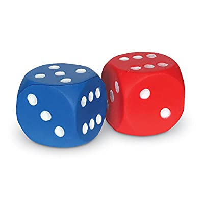 Learning Resources Foam Dice: Dot Dice, Red and Blue 6-Sided Foam Dice, Early Math Skills, Set of 2, Grades PreK+, Ages 3+: Toys & Games