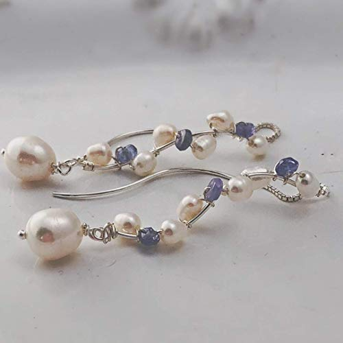 Raw Purple Tanzanite Sterling Silver Creamy White Freshwater Cultured Threader Dangle Drop Pearl Earrings Anniversary Gift for her Wedding Jewelry