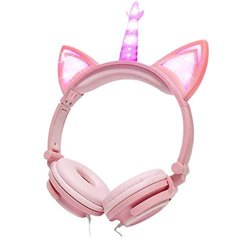Kids Cat Headphones for Girls Toddler Light up Over Ear Earphone Wired Adjustable Tablet Back to School Supplies…