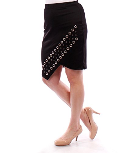 Stylzoo Plus Size Studded Pencil Skirt Black 3X