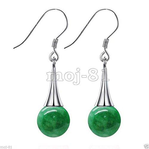 Fashion Women's Natural Green Jadeite Jade 925 Sterling Silver Dangle Earrings - Jadeite Earrings