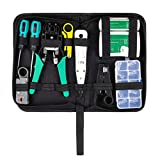 Network Cable Tester, INSMA 9 in 1 Network Tool Kits Wire Crimper Repair Tool Set for Net Computer Maintenance, with 10Pcs Crystal RJ45 Connectors
