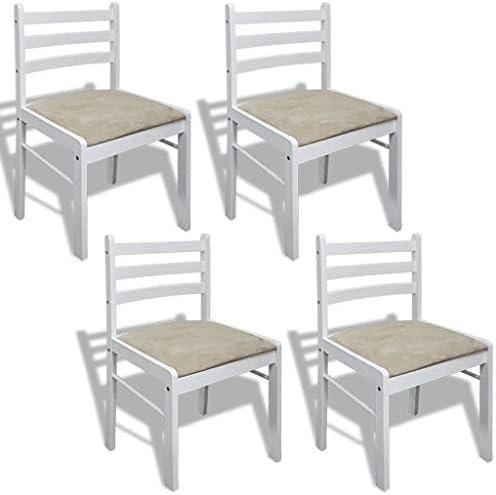 Roderick Irving Lot de 4 chaises de Salle à Manger carrées en Bois Blanc, chaises de Cuisine 44 x 45 x 81 cm