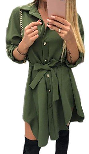 Dress Womens Fit Thin Army Cromoncent Irregular Green Color Shirt Loose Soft Hem Solid ZxdHBwvq