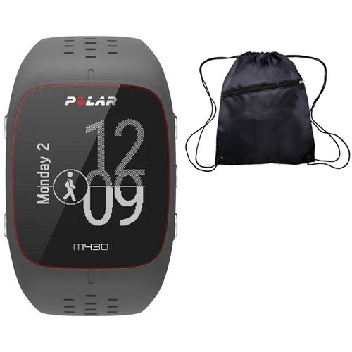 Polar M430 Wrist-Based Heart Rate GPS Running Watch Grey with Cinch Bag by Polar