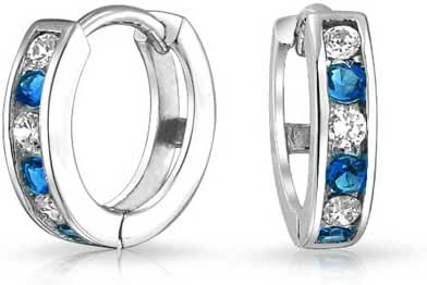 Bling Jewelry Simulated Sapphire CZ Silver Two Tone Huggie Hoops Earrings