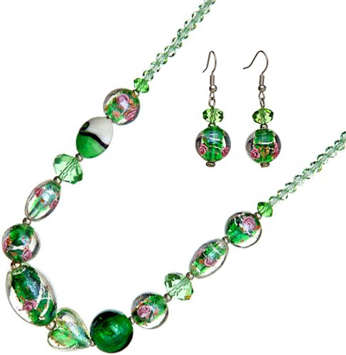 Genuine Italian Murano Glass - Ace Of Diamonds Madeline Italian Murano Glass and Austrian Crystal 18 Inch with 3 Inch Extension Necklace and Earrings Set (Emerald)