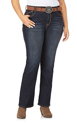 WallFlower Womens Plus-Size Belted Low-Rise Legendary Slim Bootcut Jeans in Shay, 24 Plus