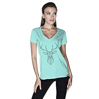 Creo Deer Animal T-Shirt For Women - L, Green