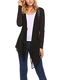 Meaneor Womens Open Chiffon Cardigan Casual Loose Long Sleeve Sheer Cover Up