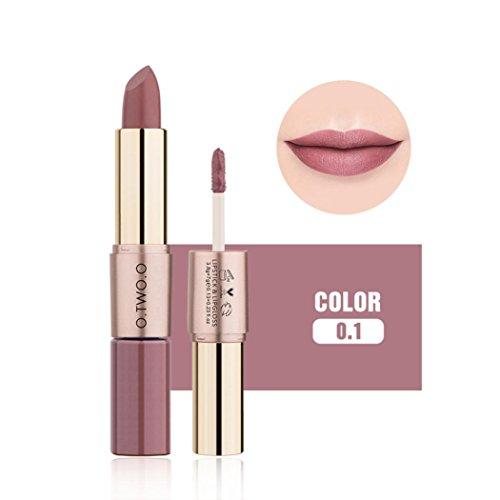 Ourhomer O.Two.O12 Colors Waterproof Long Lasting Women 2 in 1 Velvet Matte Lipstick Lip Gloss Double-End Makeup (A)