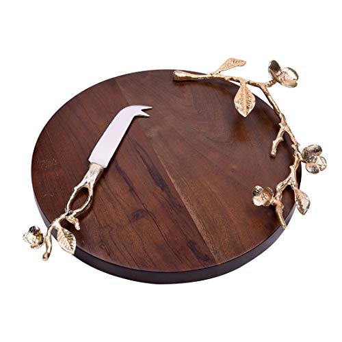 Decozen The Milli Collection Acacia Wood Round Cheese Board Gold Finished Branch Detailing w/Leaves and Milli Flowers Ideal for Homes Restaurants Café for Slicing and Serving Decorative Cheese ()