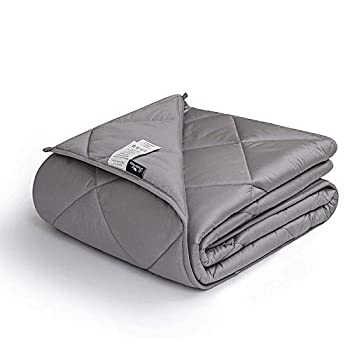 Image of downluxe Weighted Blanket for Adult (20 lbs, 60'x80', Grey) - 400TC Egyptian Cotton Material Heavy Blankets with Premium Glass Beads downluxe B081HW1N7R Weighted Blankets