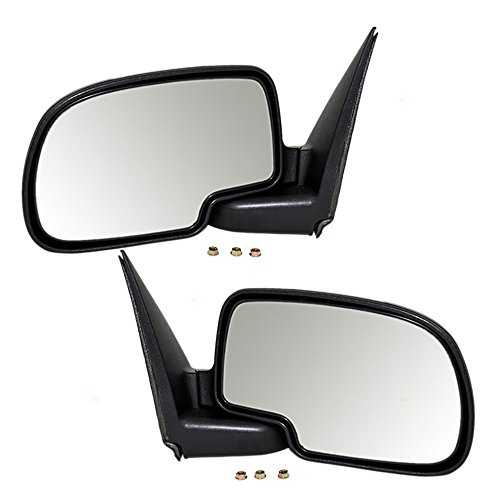 Suburban Chrome Manual Mirror - Driver and Passenger Manual Side View Mirrors with Chrome Covers Replacement for Chevrolet GMC SUV Pickup Truck GM1320208 GM1321208 AutoAndArt