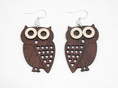 Owl Bird Wooden Fish Hook Dangle Earrings