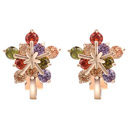 Yoursfs Snowflake Clip on Earring Cubic Zirconia 18k Rose Gold Plated Colorful Rhinestones Earrings ()