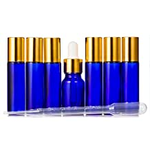 VROSELV Roll on Bottles (Pack of 7) 10ml with Golden Cap,Get one more Essential Oil Bottle(10ml) by free,3ml Plastic Dropper,Stainless Steel Roller Balls Cobalt Blue Glass on Empty Refillable Bottle