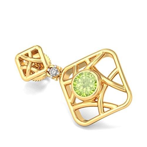 18K Or jaune 0,02ct tw White-diamond (IJ | SI) et péridot Boucles d'oreilles pendantes
