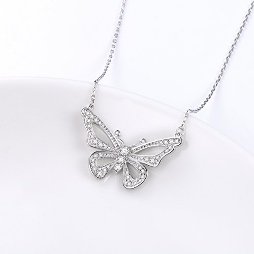 LINLIN FINE JEWELRY 925 Sterling Silver White Cubic Zirconia Butterfly in Heart Pendant Necklace Gift for Women Girls, 18'' (Butterfly) by LINLIN FINE JEWELRY (Image #3)