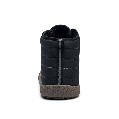 Go Tour Slip On Snow Boots For Men Women,Anti-Slip Lightweight Ankle Bootie With Fully Fur Black/Lace Up