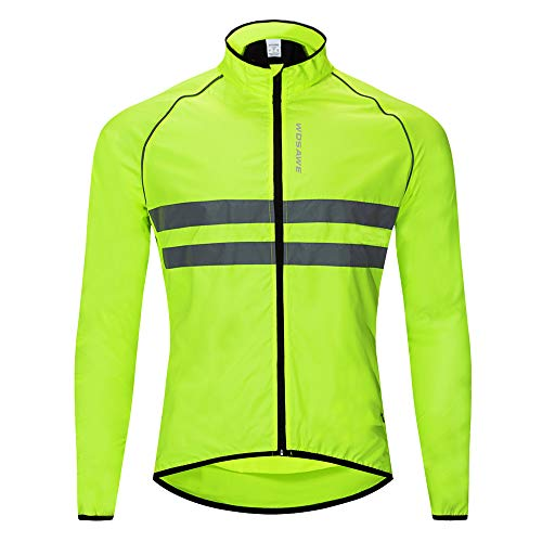 WOSAWE Men's High Visibility Cycling Wind Jacket Water Resistance Reflective Windbreaker, Green L