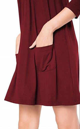 Color Solid Pockets Crewneck Red Casual Wine with Shirt Mini Womens Domple Dress Tunic T Party 4RnwfxE