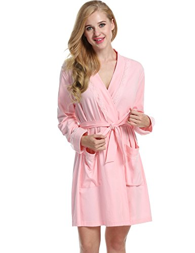 Avidloe Women's Robe Kimono Cotton Short Knit Lightweight Sleepwear - Jersey Knit Bath Robe