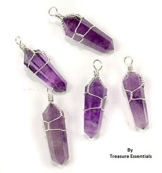 Sterling Silver Wire Wrapped Quartz Amethyst Terminated Point Pendant New