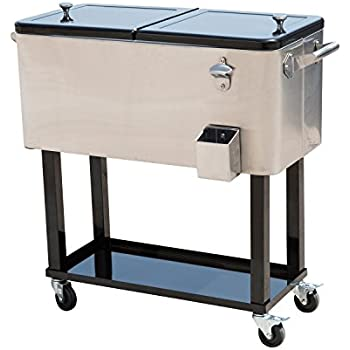 Outsunny 80 QT Rolling Ice Chest Portable Patio Party Drink Cooler Cart    Stainless Steel