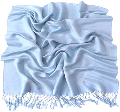 CJ Apparel Baby Blue Solid Color Design Shawl Scarf Wrap Pashmina Seconds NEW