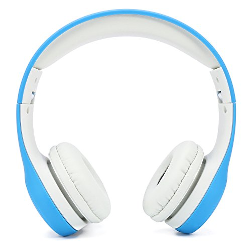 Soblue Kids Headphones, On-Ear Headsets Volume Limited, Adjustable Headband, Durable and Removable Nylon 3.5mm Audio Jack Cable, Designed for Children Ages of 3-12 (Blue)