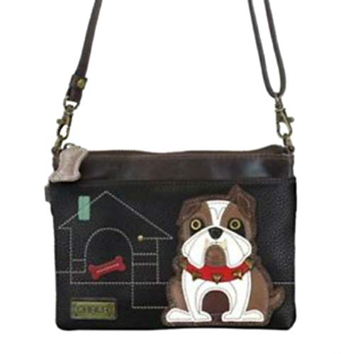 - CHALA Mini Crossbody Handbag, Multi Zipper, Pu Leather, Small Shoulder Purse Adjustable Strap - Bulldog - Black