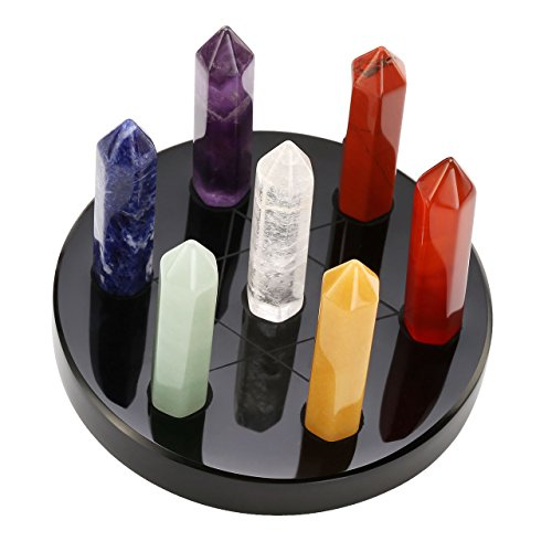 (Top Plaza 7 Chakra Healing Crystals Wands Quartz Reiki Energy Tumbled Stones Set Hexagonal Points Array Statue Figurines W/Stand (Black Obsidian Stand 3 ×1.8)