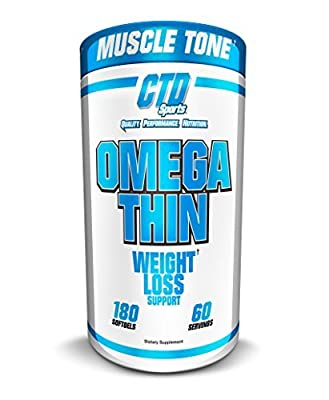 CTD Sports Omegathin 180 Softgels, Best Selling Most Effective Stimulant Free Weight Loss Support Pills For Women and Men