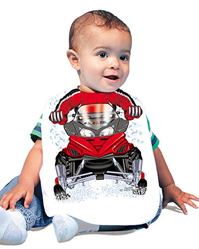 Large Snowmobiles - Just Add A Kid Baby Boy's Snowmobile 709 Baby Bib 0-6 Months White