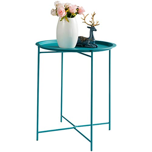 "HollyHOME Folding Tray Metal Side Table, Sofa Table Small Round End Tables, Anti-Rust and Waterproof Outdoor or Indoor Snack Table, Accent Coffee Table,(H) 20.28"" x(D) 16.38"",Peacock Blue from HollyHOME"