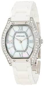Anne Klein Women's 10/9867MPWT Ceramic Swarovski Crystal Accented Silver-Tone White Ceramic Watch