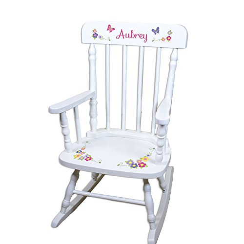 Children's Personalized White Bright Butterfly Rocking Chair -