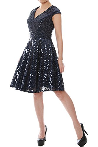 Dress Plus Fancy Size 90s (MACloth Women Cap Sleeve V Neck Sequin Short Bridesmaid Dress Formal Party Gown (10, Dark)