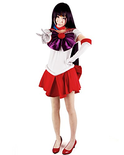 Sailor Moon Costumes For Adults (Miccostumes Women's Sailor Moon Hino Rei Sailor Mars Cosplay Costume Medium White and Red)