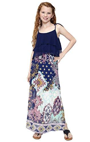 Truly Me, Big Girls Tween Bohemian Print Maxi Dress (Many Options), 7-16 (12, Navy (Tween Dresses Formal)