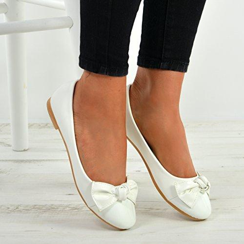 Valkoinen Tasaisella Luistaa Dolly Alhaiset Baletti Naisten Muodin Cucu Pumput Uusi Kengät Naisten Korot Ballerinat Patenttia COXwZRBRqx